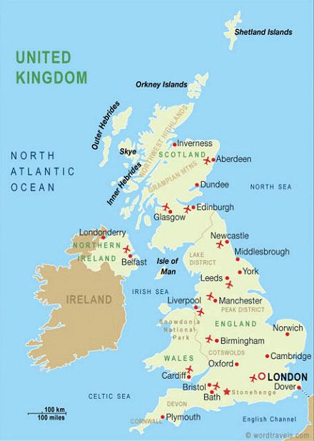 Англия карта