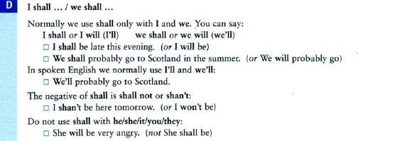 особенности употребления глаголов will и shall