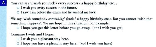 wish - желаю, wish в условных предложениях