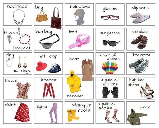 Картинки с одеждой на английском, немецких открыток